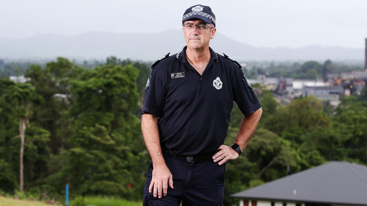 Tully Police Officer in Charge Sergeant Rod Stanley led the police effort in the North Queensland town after Tropical Cyclone Yasi struck in 2011. Picture: Brendan Radke