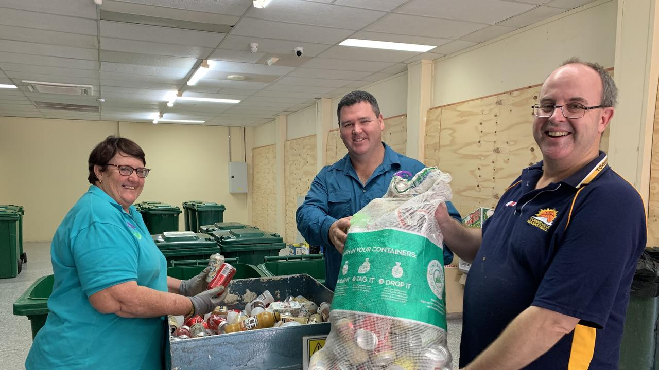 Staff at the Outwest Container Exchange at Longreach, Carolyn Carr (left), Jamie Worland and Michael Lloyd.