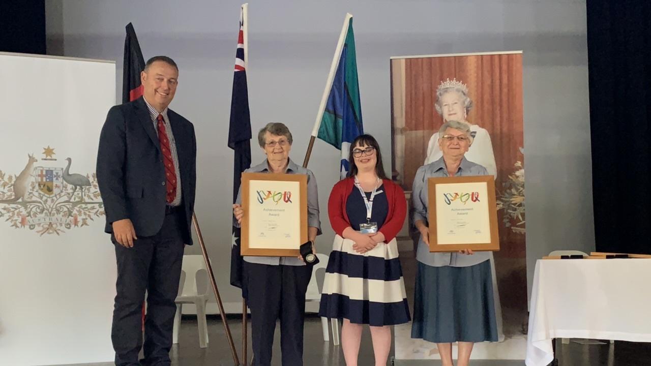 (From left) Maranoa mayor Tyson Golder, Jenny Hewitt, Australia Day ambassador Olivia Hargroder, Noeleen Guyatt. Pic: Lachlan Berlin