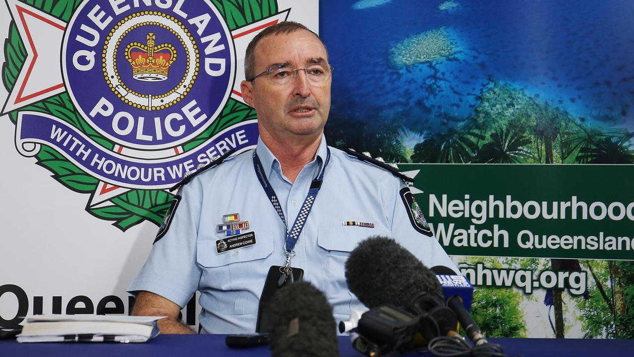 Cairns Police Acting Inspector Andrew Cowie holds a media conference to inform the public that the search for three missing fishermen has been officially called off. Picture: Brendan Radke