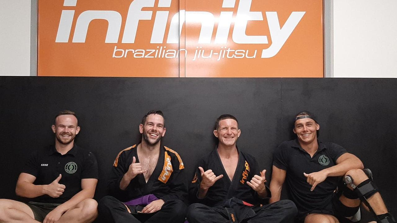 James Davies and Shane Moore pictured with powerlifting and performance gym Simm City Performance owners Kane Stewart and Jake Roberts at the opening of Infinity Nambour.