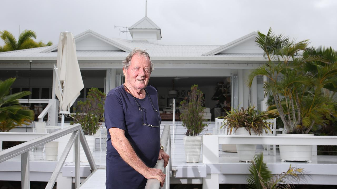 Retired businessman David Hutchen at his Hinchinbrook Harbour waterfront home. Port Hinchinbrook was badly damaged when Tropical Cyclone Yasi hit the seaside town in 2011. Mr Hutchen lost his wooden motor yacht in the cyclone. Picture: Brendan Radke
