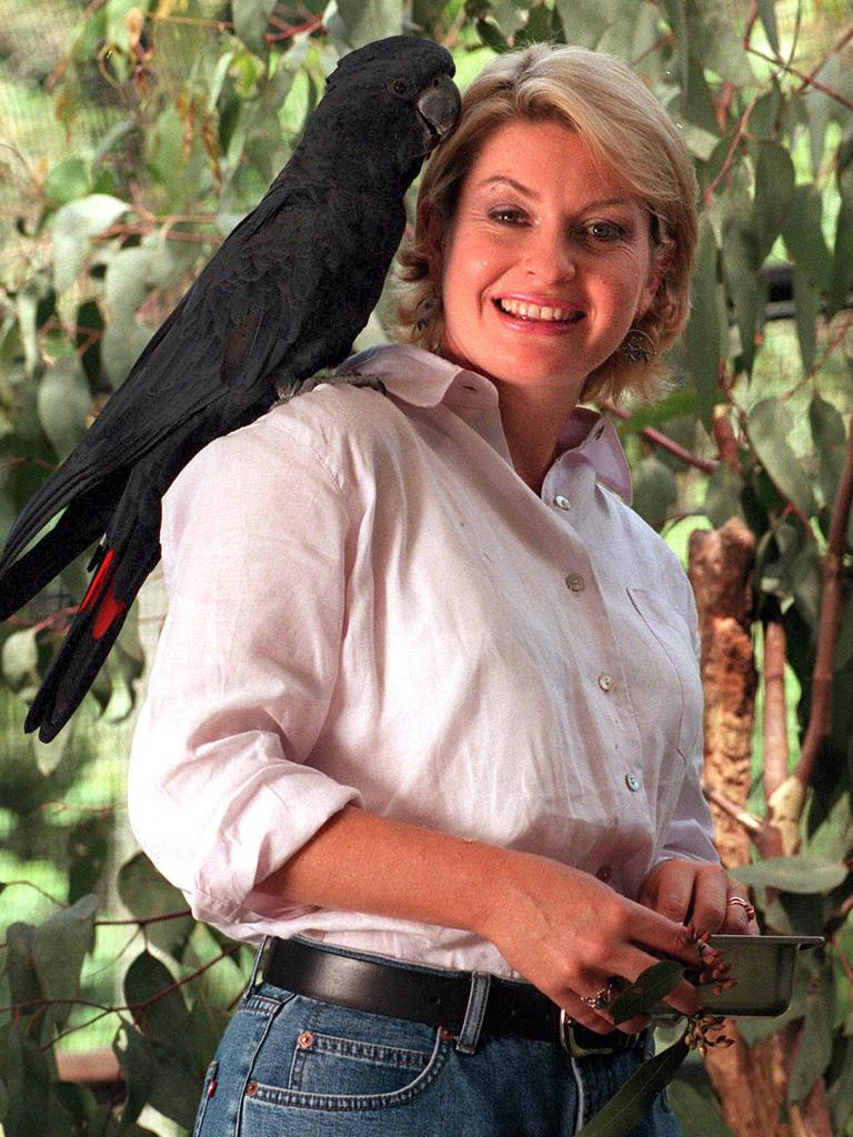 Stacey Thomson with ' Rupert ' the Red Tailed Black Cockatoo, at Lone Pine on October 22, 1999 Picture: Campbell/Scott