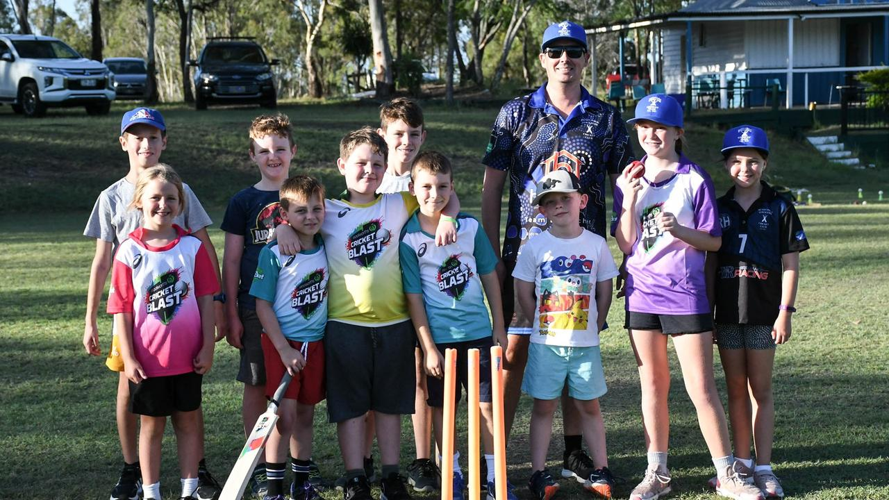 Strollers Cricket Club president Brad Cumming welcomes the young players who enjoyed being part of the club's Junior Blasters program on Monday. Picture: Gary Reid