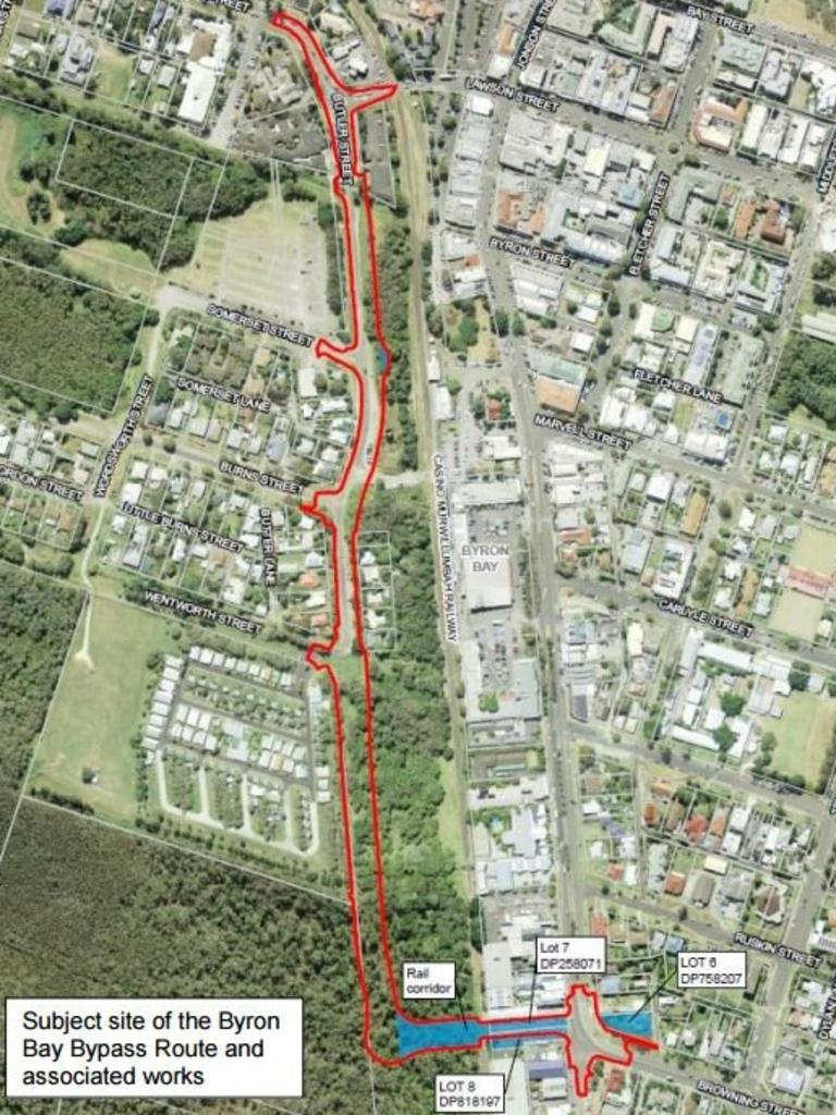 The route of Byron Bay's CBD bypass.