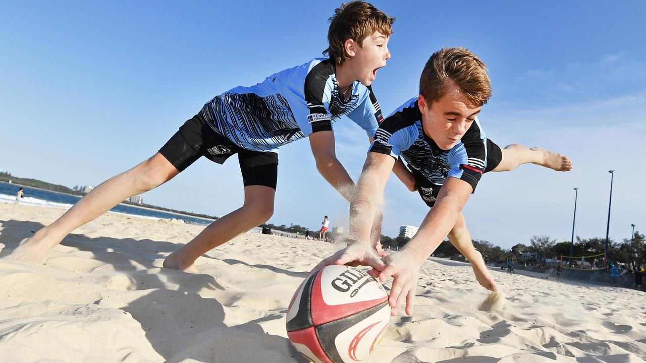 Beach 5s Rugby festival coming to Mooloolaba in February. Out in practice mode are Brock Coombes (front) and Archie Cook. Picture: Patrick Woods.
