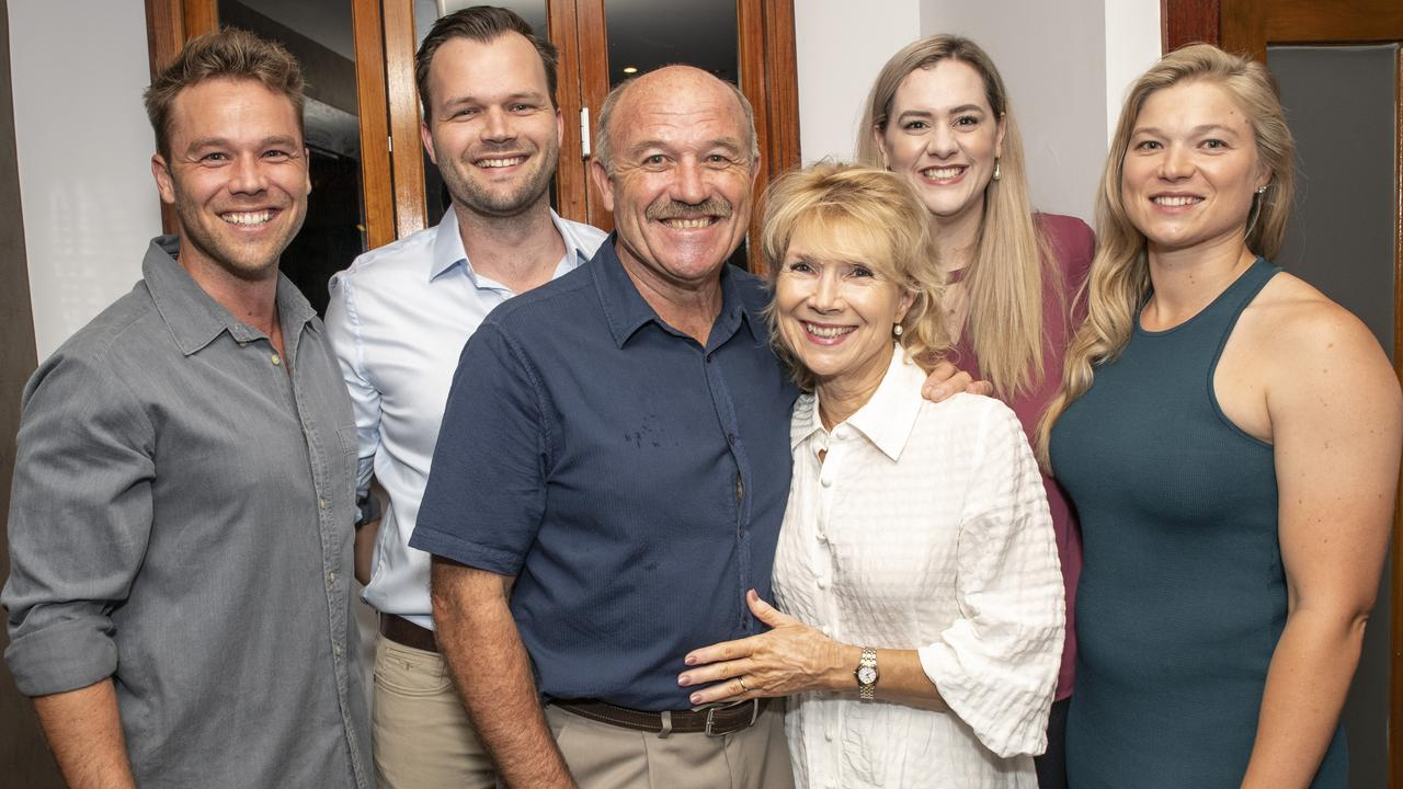 Wally Lewis with his children and wife Jacqui, who he has split with after 36 years of marriage.