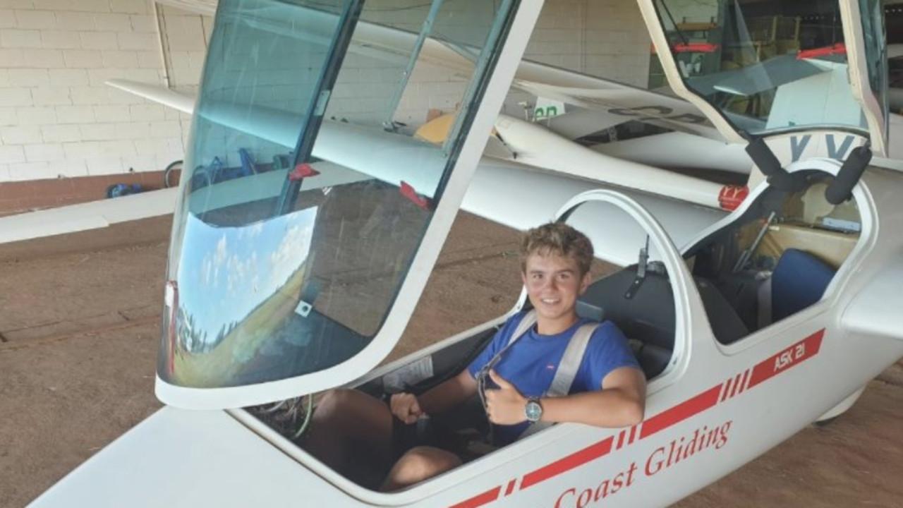 Leo Davies, 16, at the Sunshine Coast Gliding club.