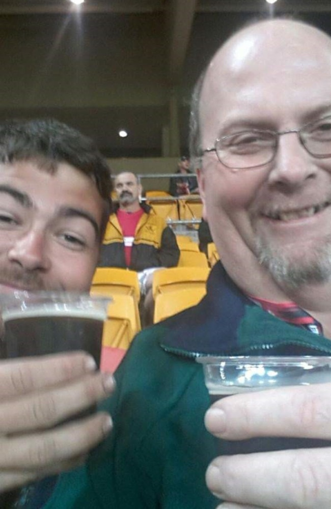 Aaron with his dad Ian Seibel at a Queensland Reds game.