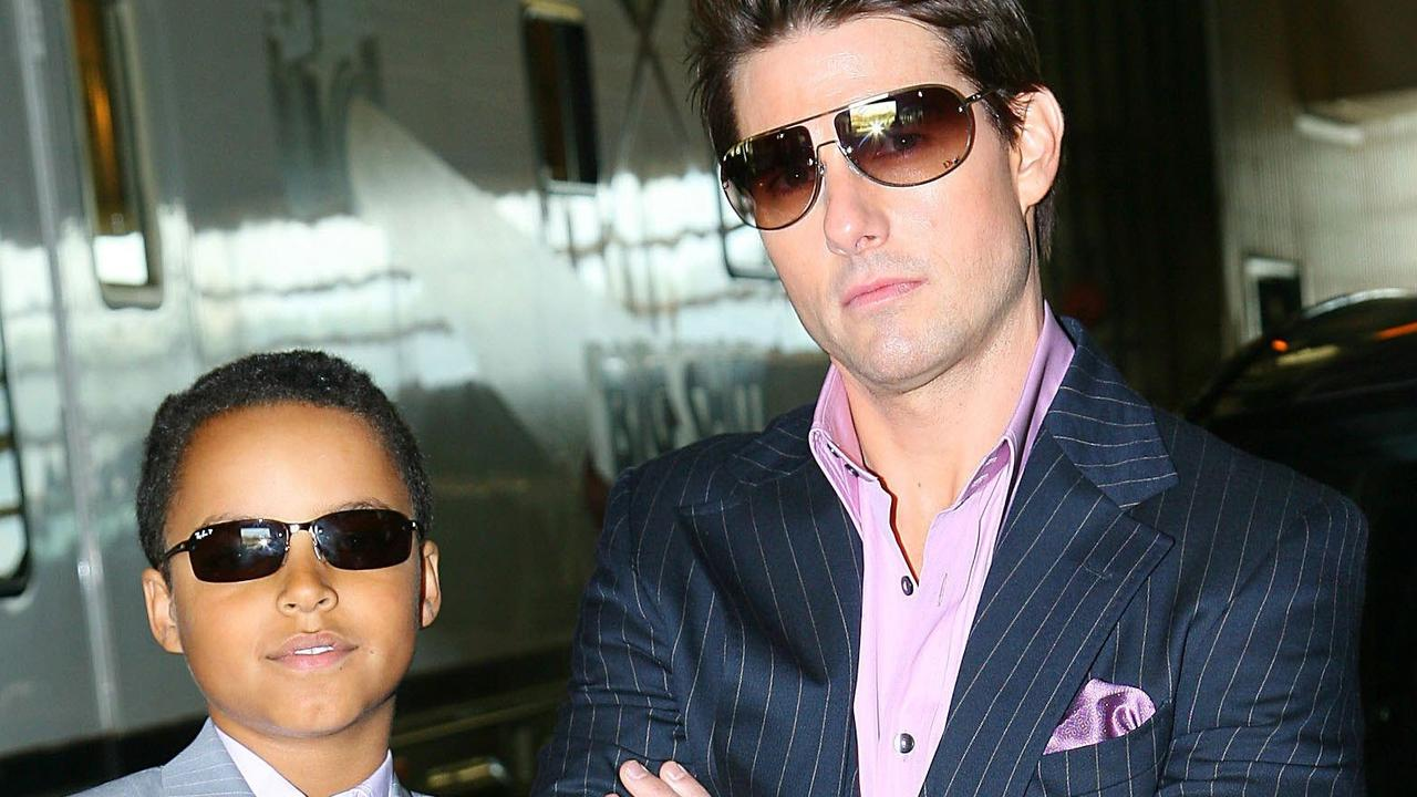 MAY 3, 2006 : In this photo provided by Paramount Pictures, actor Tom Cruise poses with his son Connor before heading to the Magic Johnson Theatre in the Harlem neighborhood of New York to promote his new film