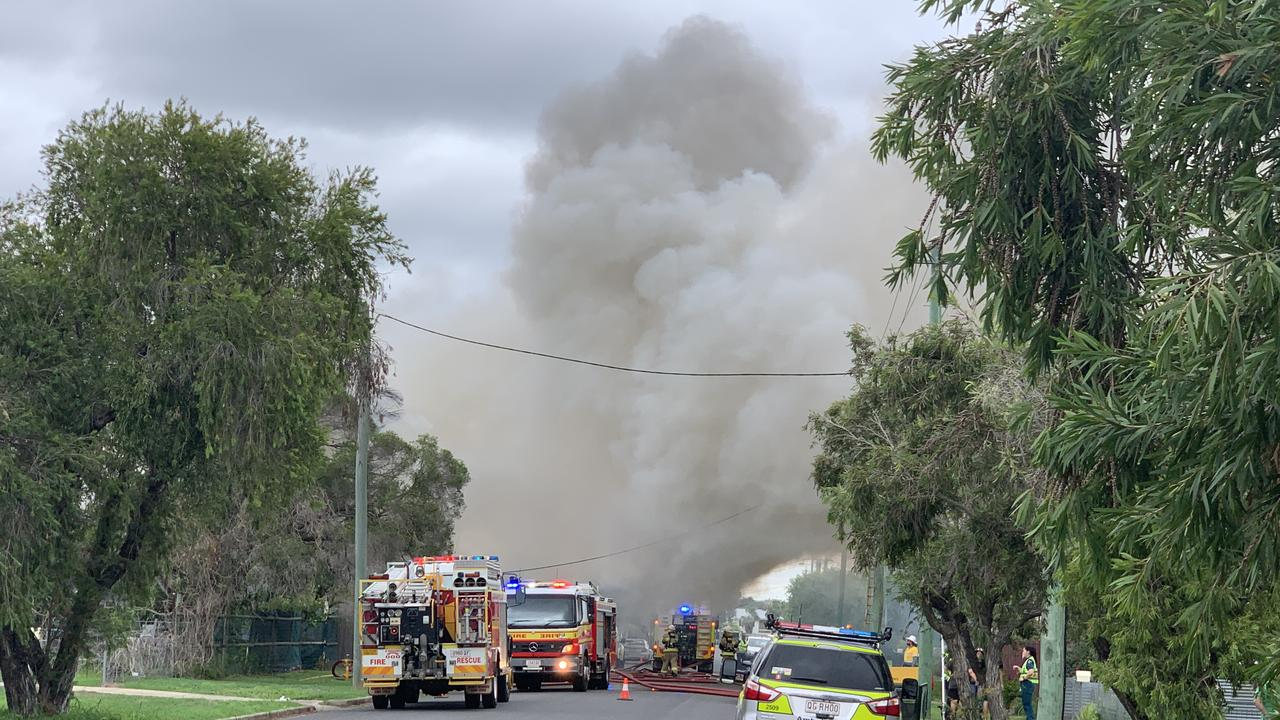 The scene of a house fire in North Rockhampton's Face St on January 11. Photo Jann Houley.