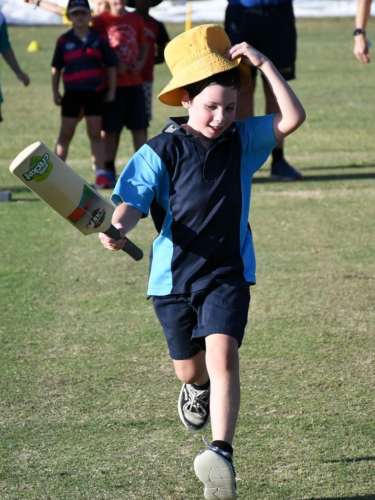 Cricket newcomers enjoy the Strollers Junior Blasters program. Picture: Gary Reid