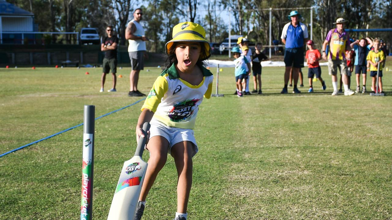 Cricket newcomers have fun learning the basics at Strollers Junior Blasters program. Picture: Gary Reid
