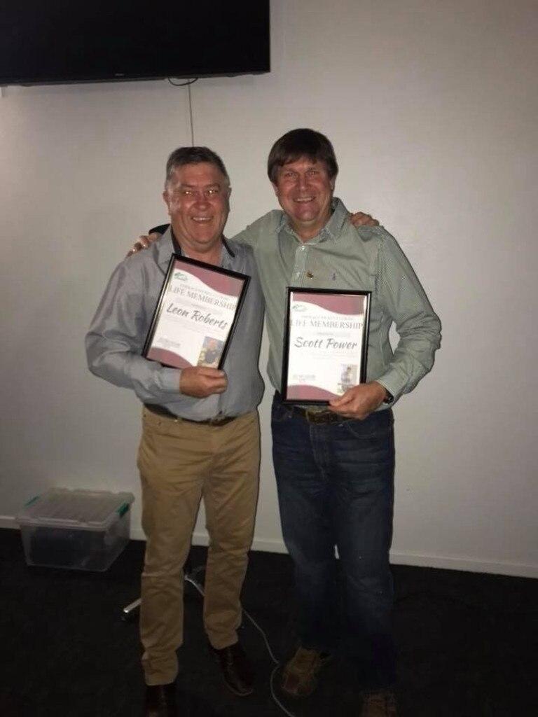 Emerald Jockey Club life member recipients Leon Roberts and Scott power.