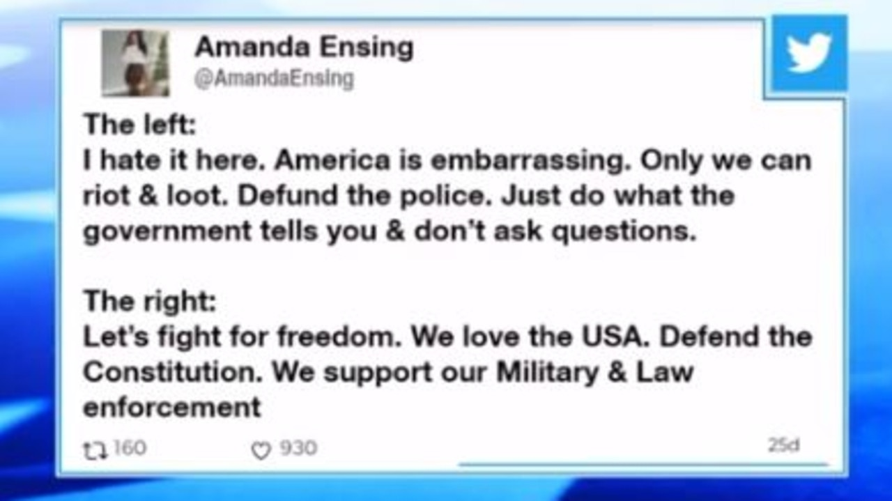 Amanda Ensing sent a series of political tweets on the day of the Capitol riot.