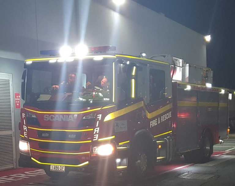 Queensland Fire and Emergency Services crews outside Caneland Central after an automatic alarm was triggered inside the Commonwealth Bank. Picture: Heidi Petith