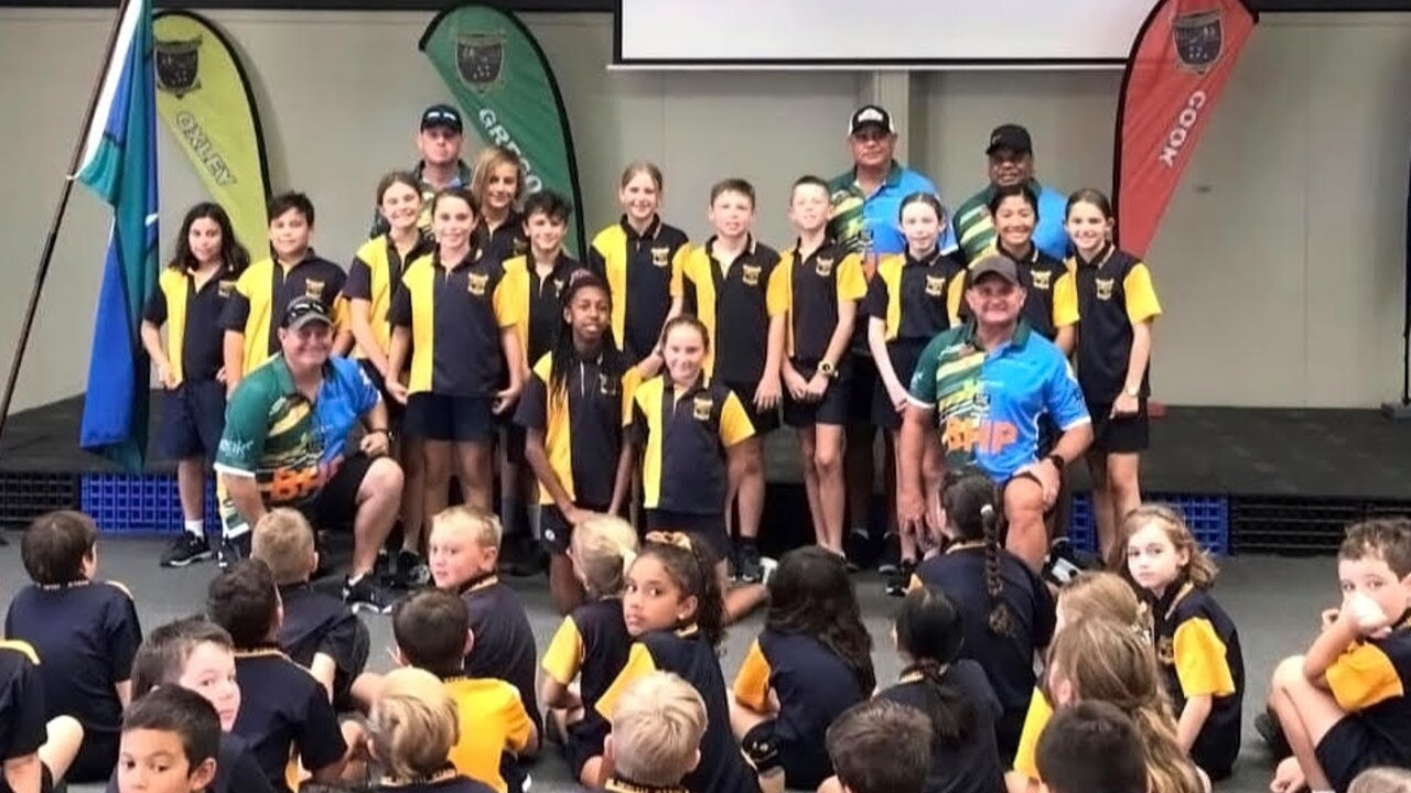 Leo Dynevor, Nathan Blacklock, Craig Teevan and Troy Byers have been visiting Central Queensland schools in the lead-up to the Australian Team of NRL Legends game in Blackwater on Saturday. Photo: Contributed