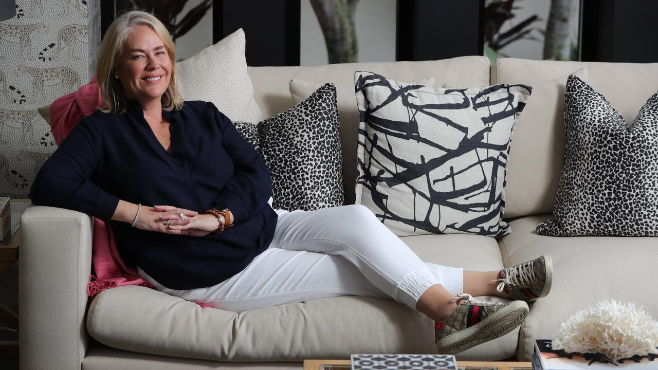 Rebecca Frizelle relaxing at her Southport home. Picture: Glenn Hampson.