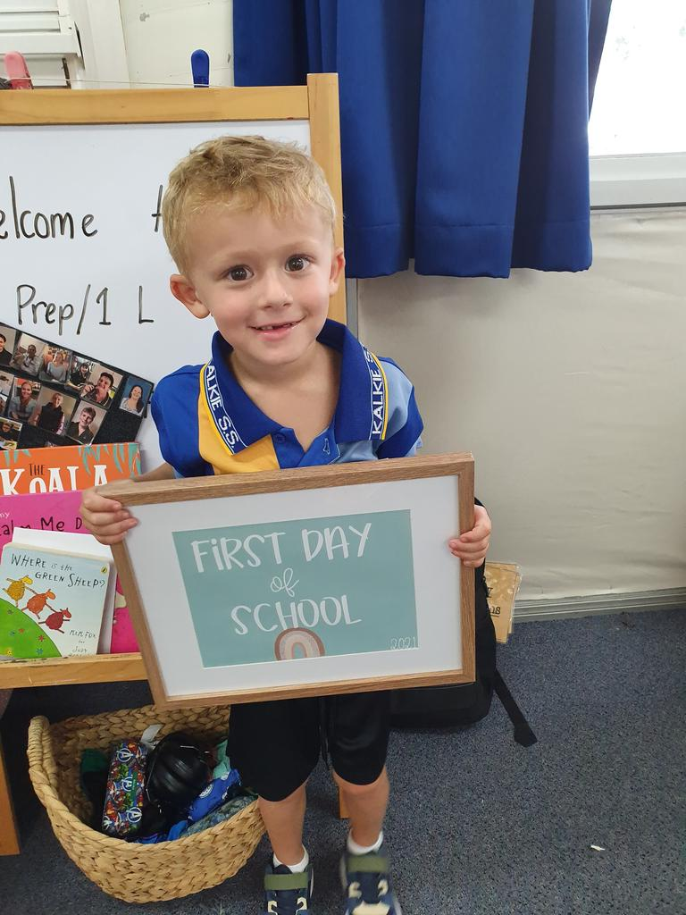 After undergoing an operation before his first birthday, which prevented the loss of his vision, little Russell Foody has hit a major milestone and started his primary school journey.