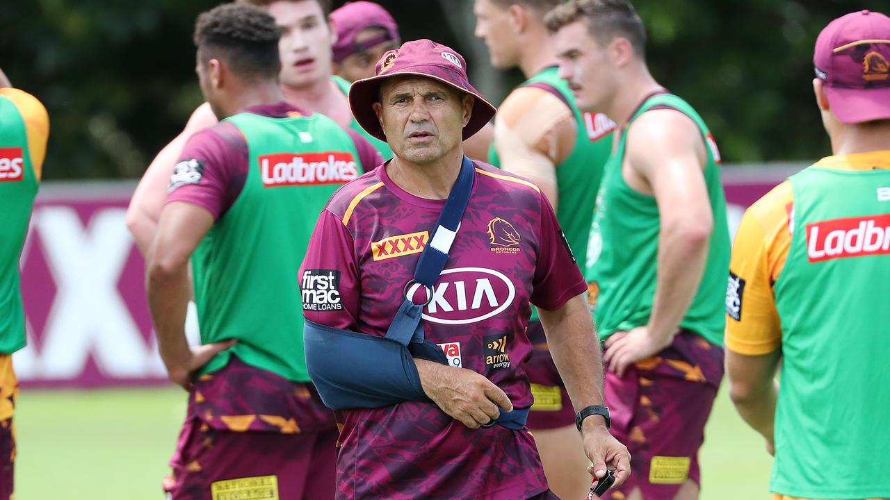 Assistant coach Terry Matterson, with his arm in a sling, didn't shy away from his responsibilities, as he addressed the Payne Haas situation. Picture: Liam Kidston