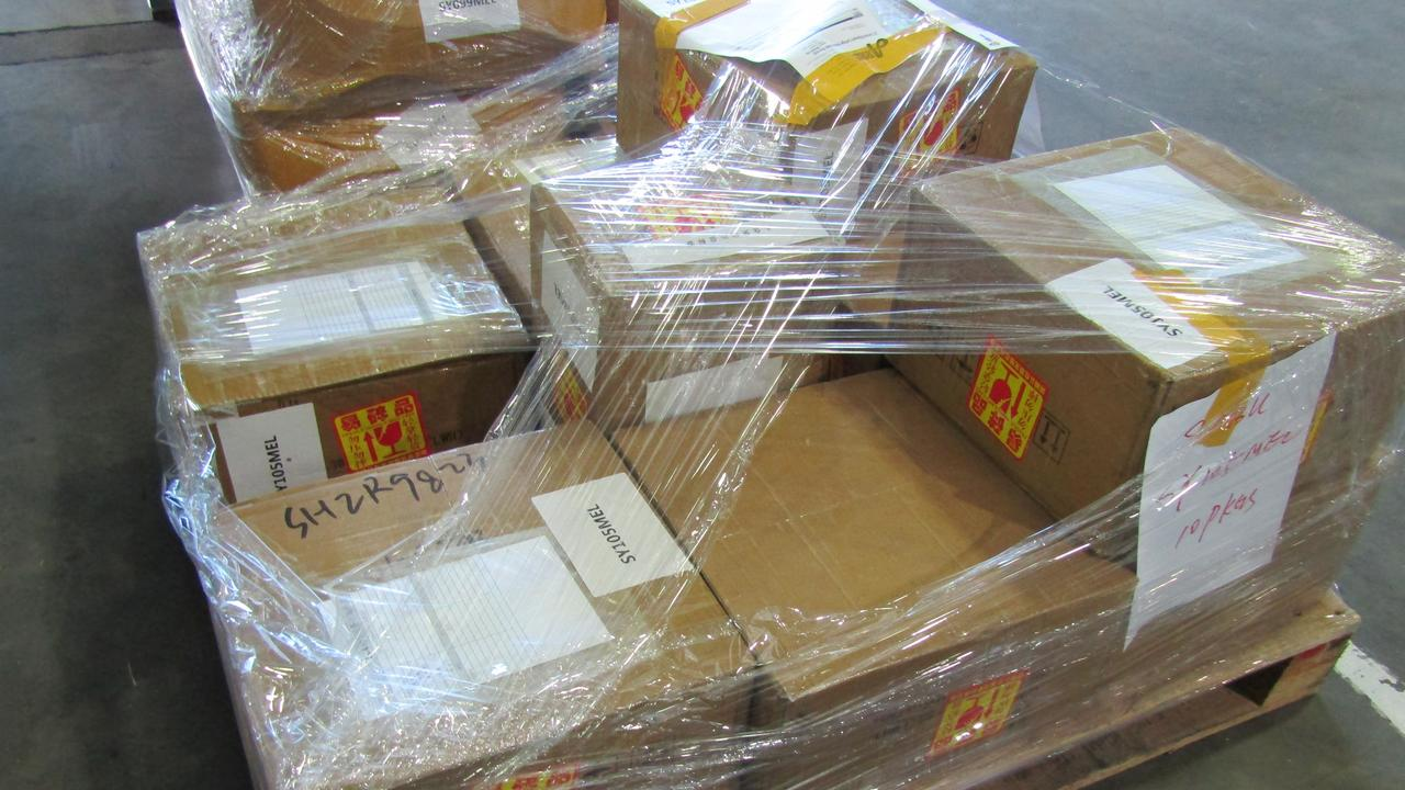 Drugs located in air cargo. Picture: Australian Federal Police.