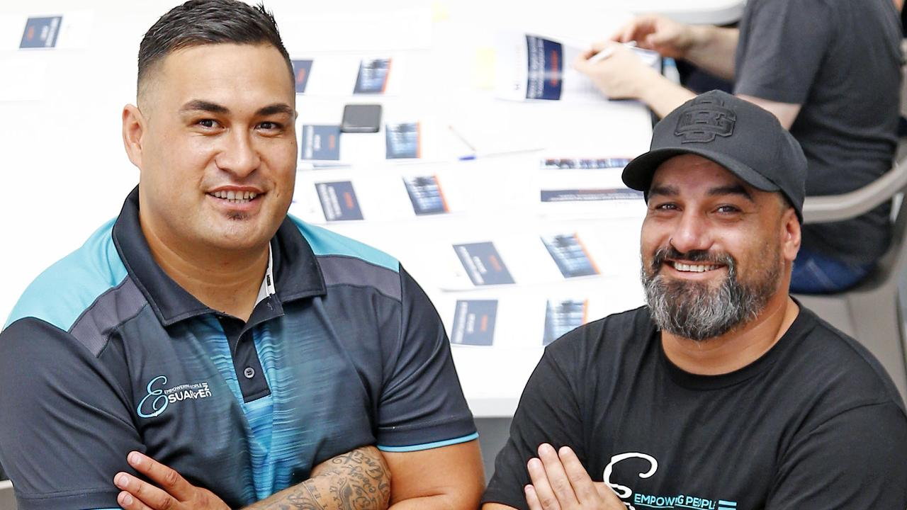 Joseph Te Puni-Fromont and Steve Henry are training disengaged youths to get a qualification in construction. Picture: Tertius Pickard