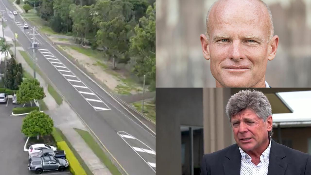 The new turning lanes at Victory College (left) and Victory Church pastor George Miller (bottom) and Mayor Glen Hartwig.