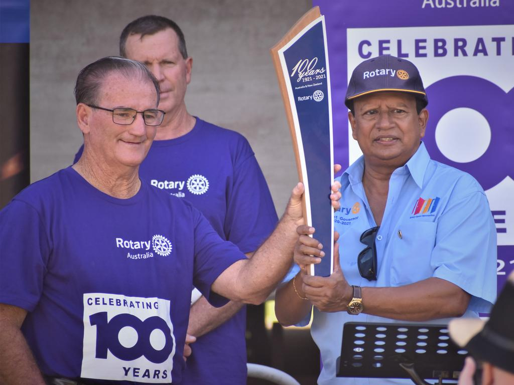 Rotary District 9640 district governor Andy Rajapakse, Clarence Valley Mayor Jim Simmons and Ballina on Richmond president Dave Harmon at the District 9640 Rotary 100 Baton Relay launch at Memorial Park, Grafton on Friday, 5th February, 2021. Photo Bill North / The Daily Examiner
