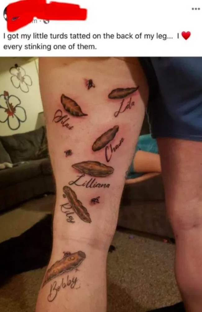 This dad's rather unconventional tattoo was roasted online. Picture: Reddit.