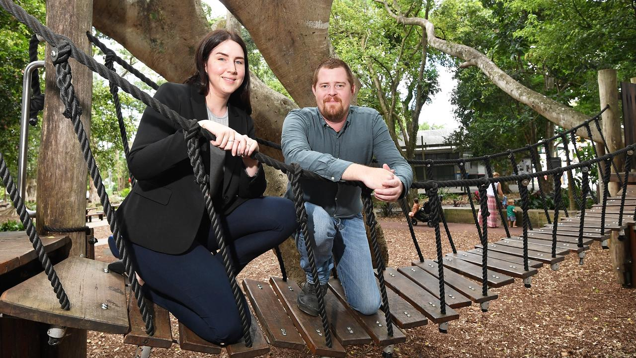 Shane Hoogvliet and Samantha Sarma of Aspect Contractors have beaten two Brisbane companies for $3.7 million Cooroy adventure playground build. Picture: Patrick Woods.