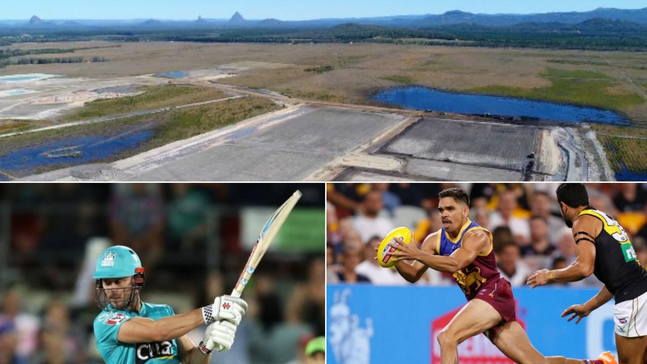 A stadium built to showcase AFL and cricket matches is part of the future plans for Stockland's Aura at Caloundra South. Pictured is Brisbane Heat's Chris Lynn and Brisbane Lions' Charlie Cameron.