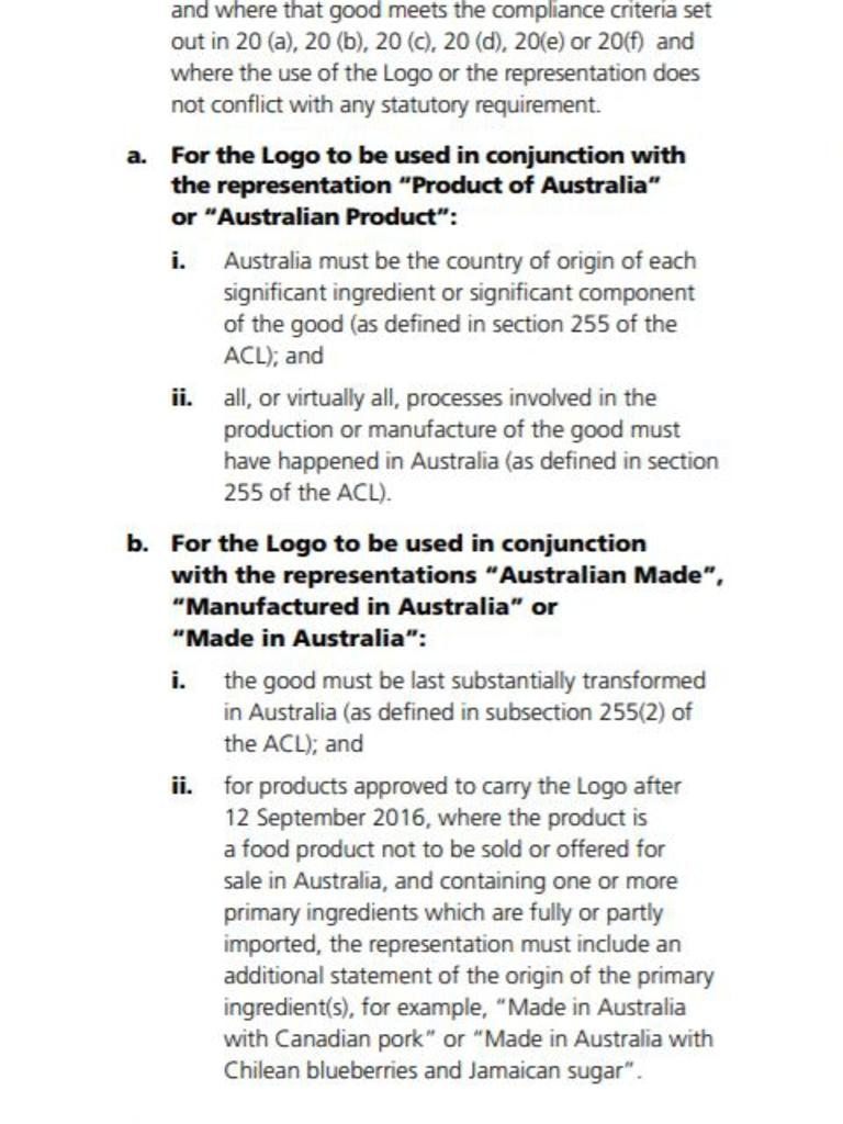 Australian Made's criteria for using the iconic label.