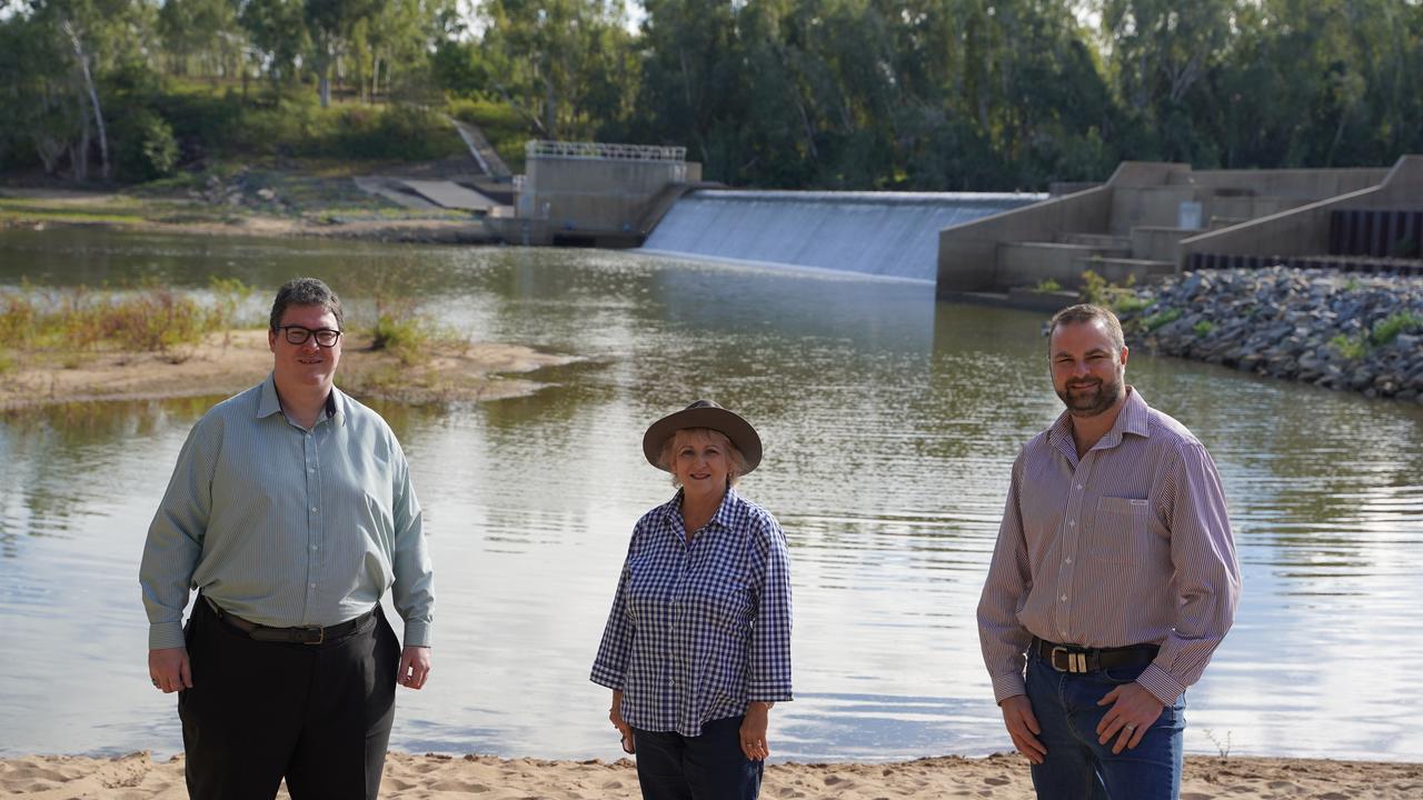 Capricornia MP Michelle Landry with Dawson MP George Christensen and Bowen River Utilities CEO John Cotter touring Collinsville near the Urannah Dam site.
