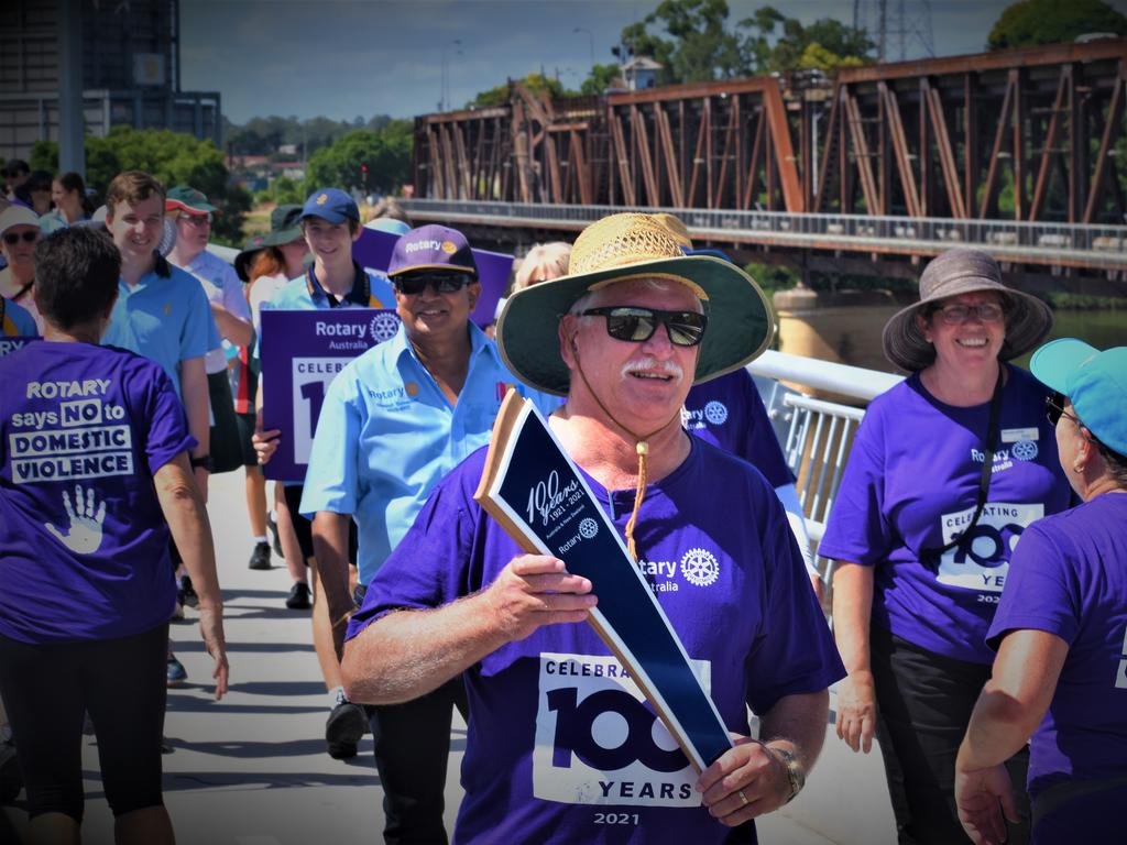 The District 9640 Rotary 100 Baton Relay makes its way over the new Grafton Bridge on Friday, 5th February, 2021. Photo Bill North / The Daily Examiner