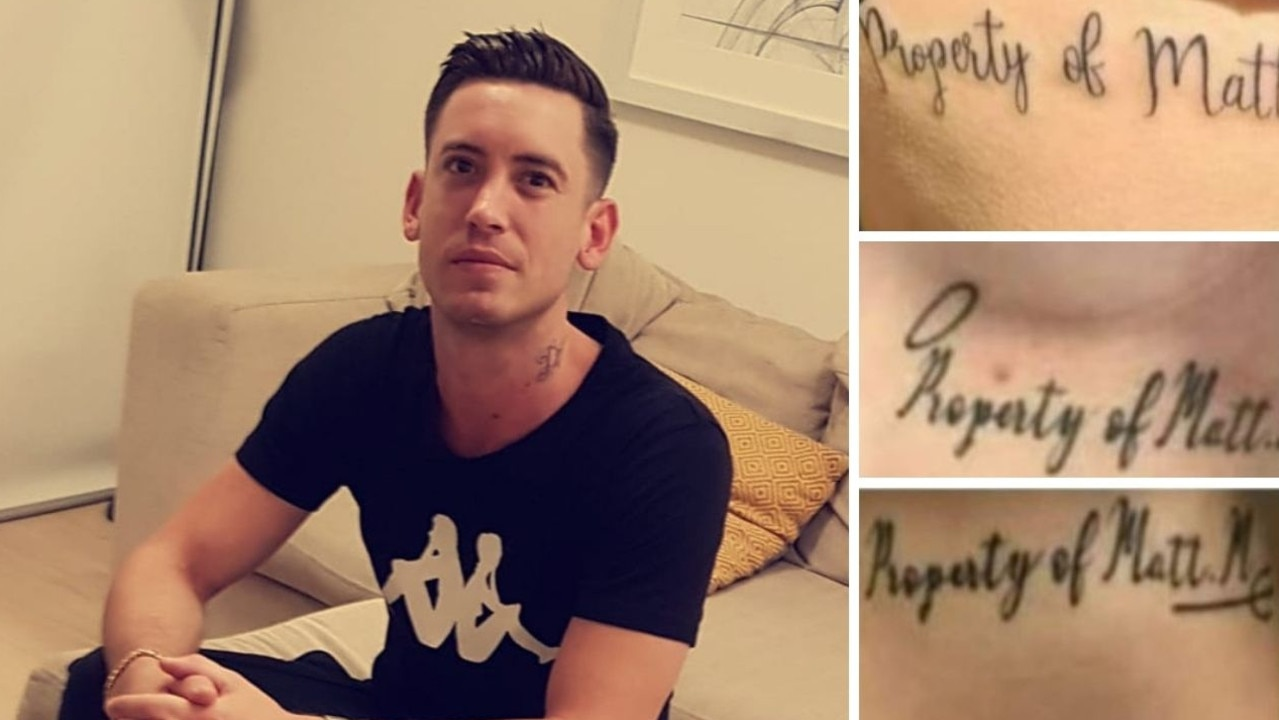 "On his Facebook profile Markcrow posted a photo of the tattoos. They reads: ""Property of Matt M""."