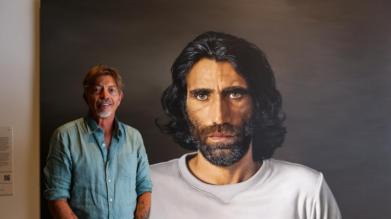 Six time Archibald Prize Finalist Angus McDonald wins the 2020 Archibald Prize ANZ People's Choice award for his portrait of Behrouz Boochani a Kurdish – Iranian writer, poet, filmmaker and journalist at the NSW Art Gallery in Sydney Australia. Picture: NCA NewsWire / Gaye Gerard