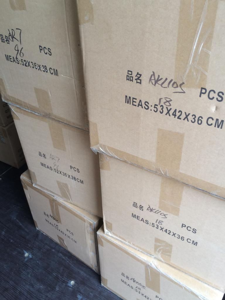 Boxes containing 96 small koala or 18 large kangaroo toys. Picture: GJ