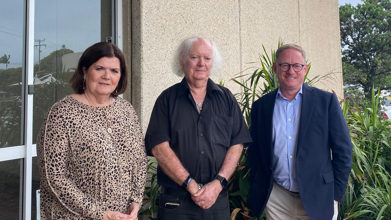 Minister for Local Government Shelley Hancock with Ballina mayor David Wright and Nationals MLC Ben Franklin.