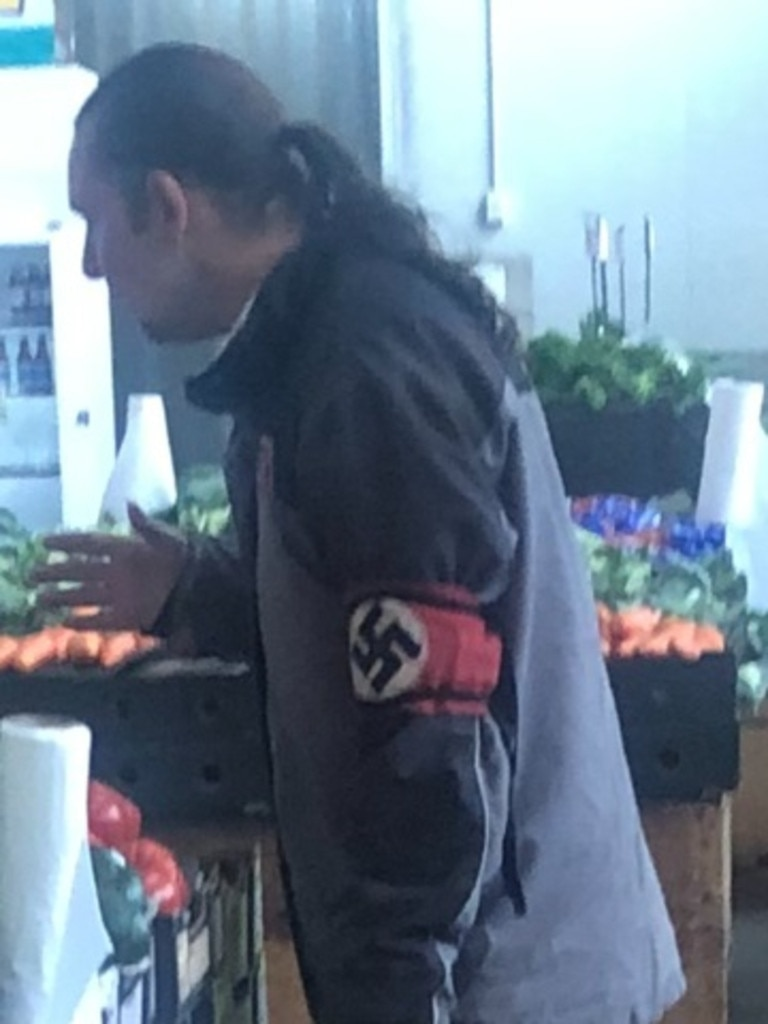 The man wearing a Nazi swastika armband shocked shoppers Picture: Supplied