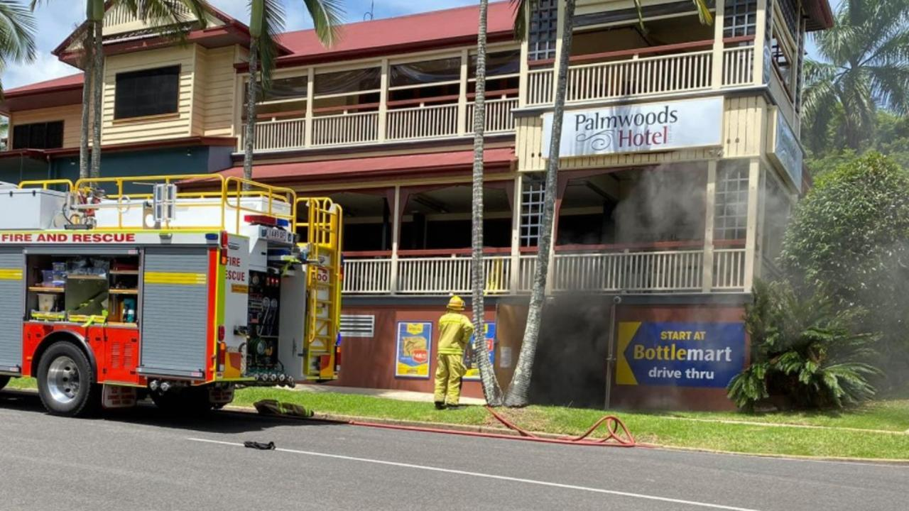 Firefighters on scene at Palmwoods Hotel on Main St where a fire had broken out on Saturday. Picture: Tony Nixon