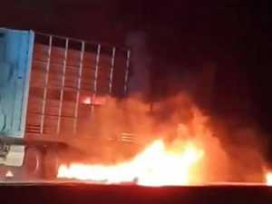Cattle truck trailer erupts into flames in Roma