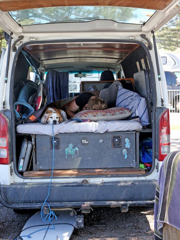 A legally parked traveller and her dog grab a daytime nap in Crescent Head. Picture: Nathan Edwards