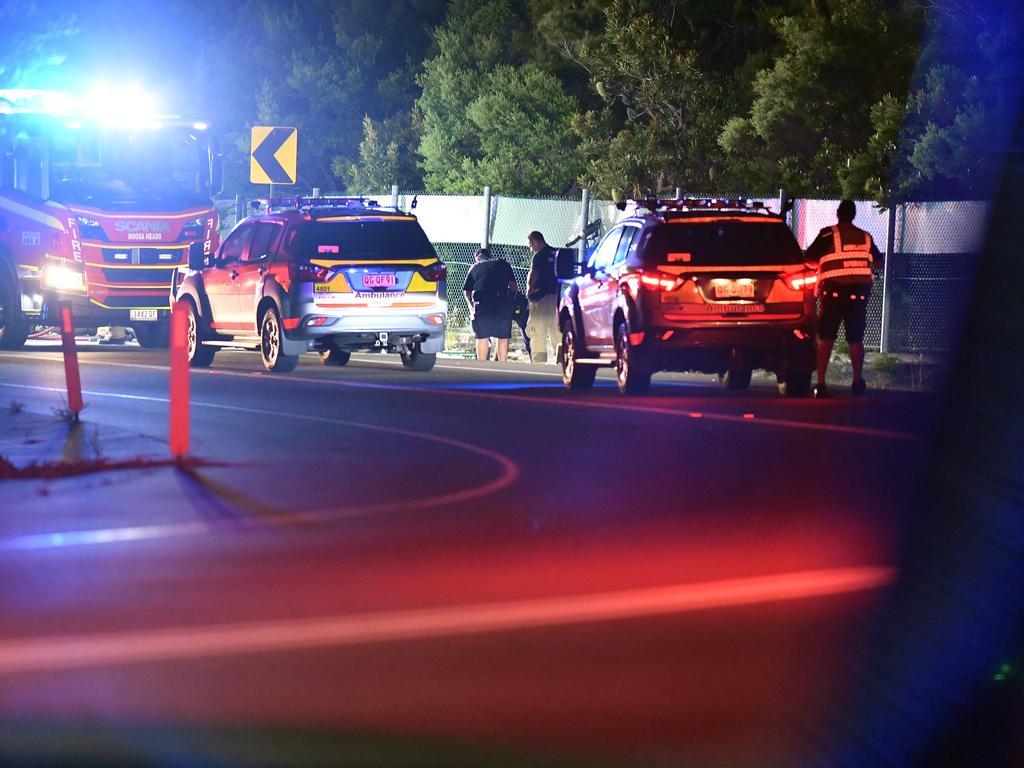 Eenie Creek Road motorcycle crash. Picture: Patrick Woods.