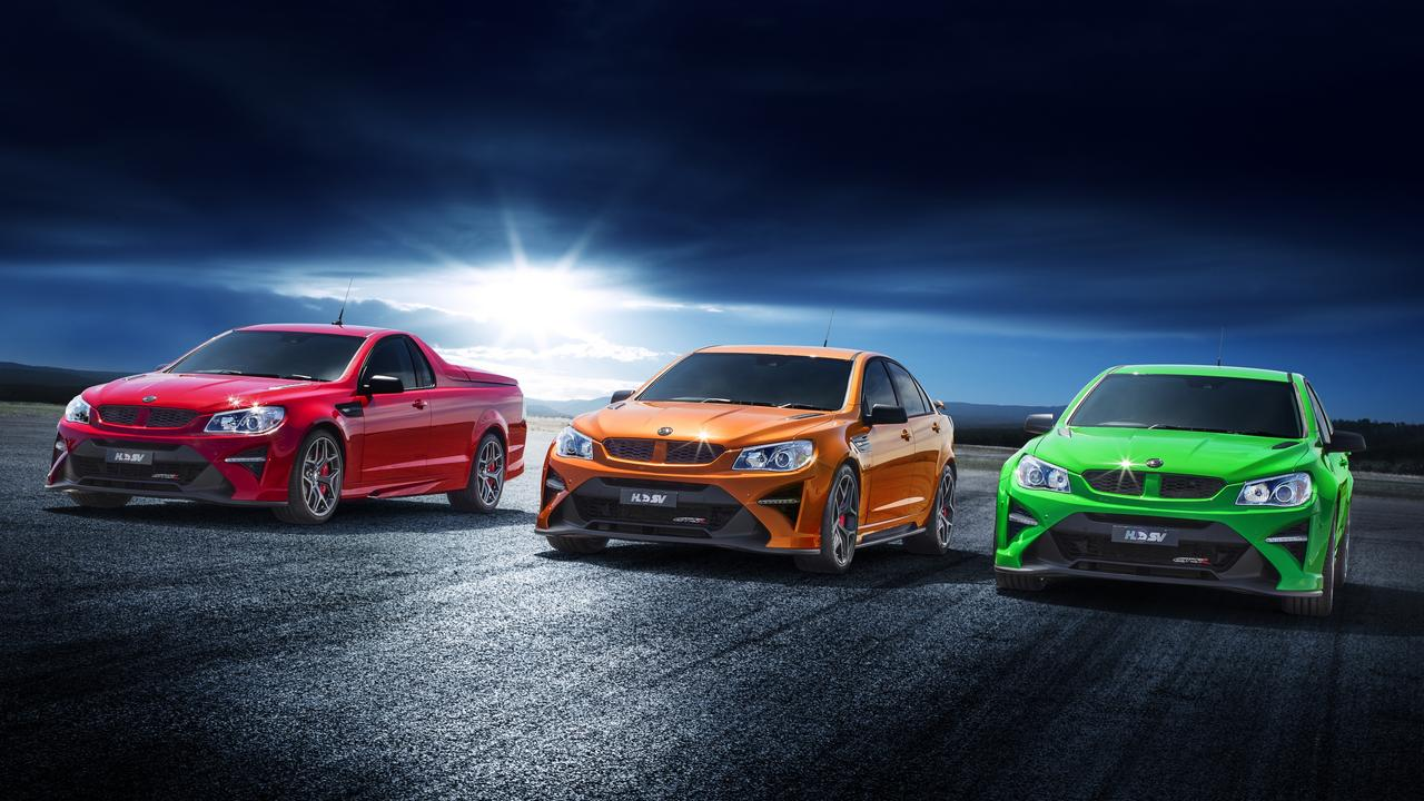HSV's final models include the HSV GTS R Maloo ute (left) GTS R W1 sedan (middle) and GTS R sedan (right).