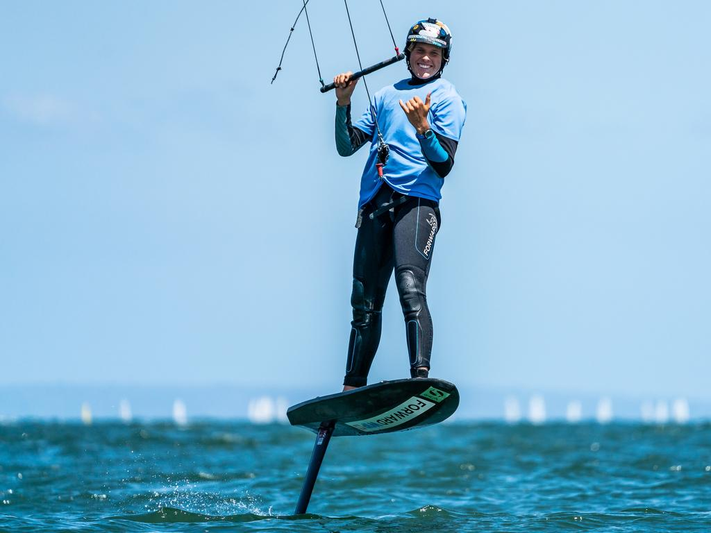 Scott Whitehead competing at the Australian Kite Foiling Titles in Melbourne. Photo: Beau Outteridge