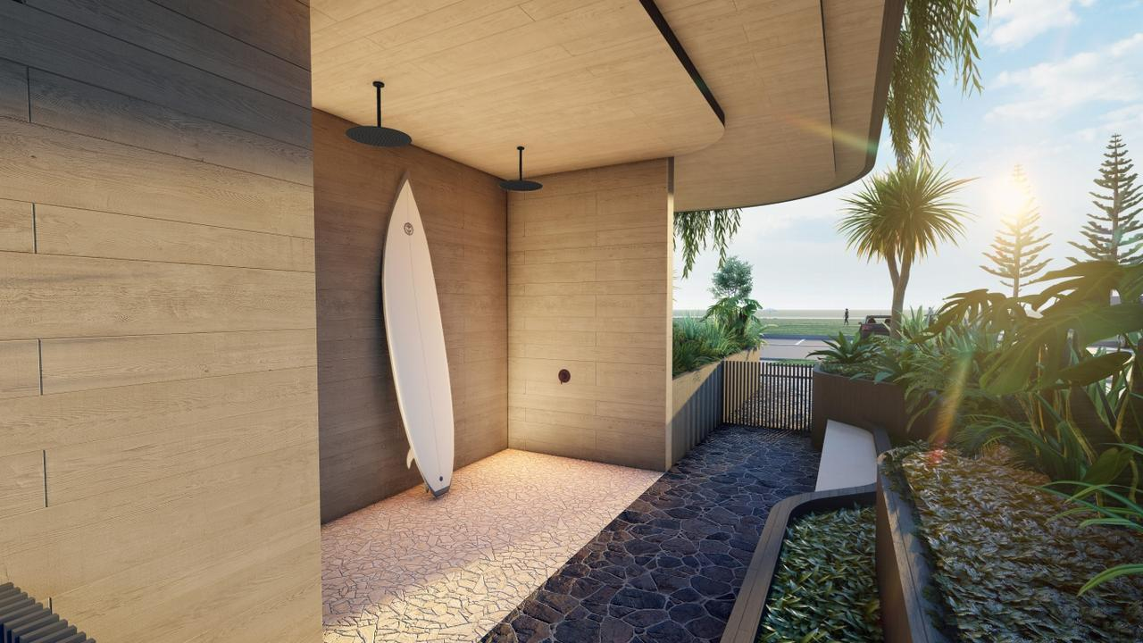 The outdoor shower area.