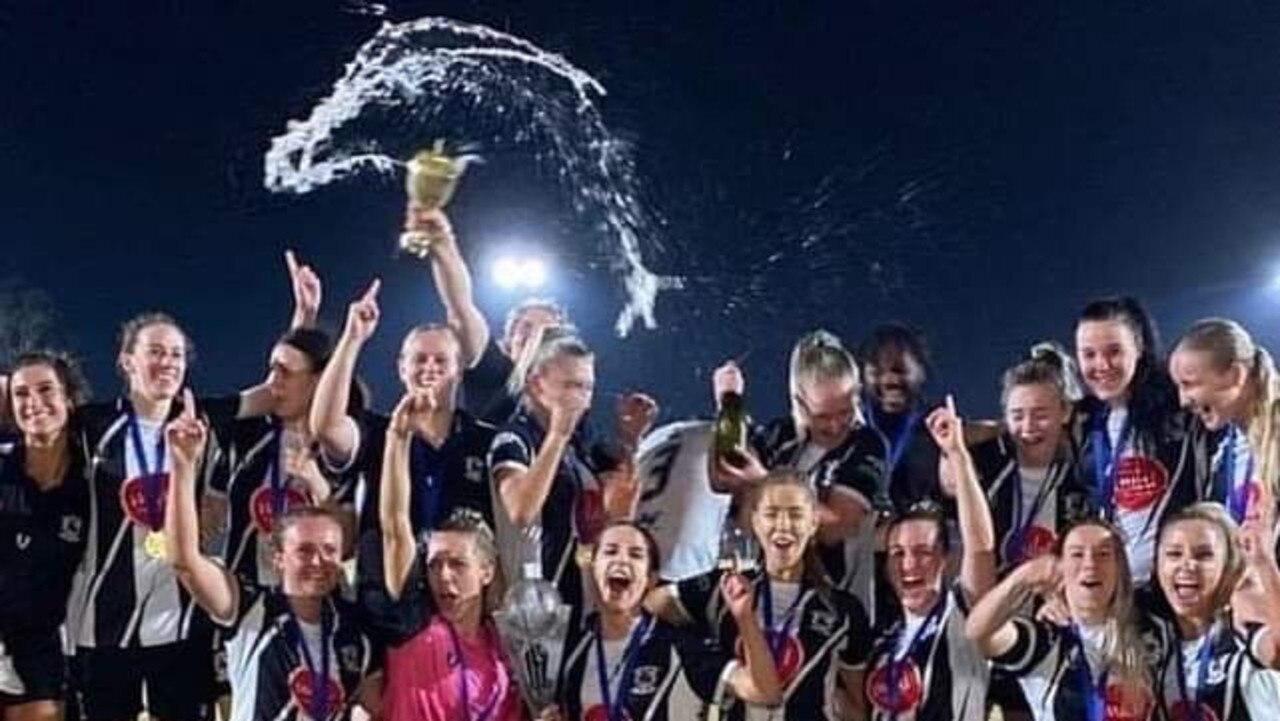 The Ipswich City Bulls side that won the 2020 Brisbane Women's Premier League championship.