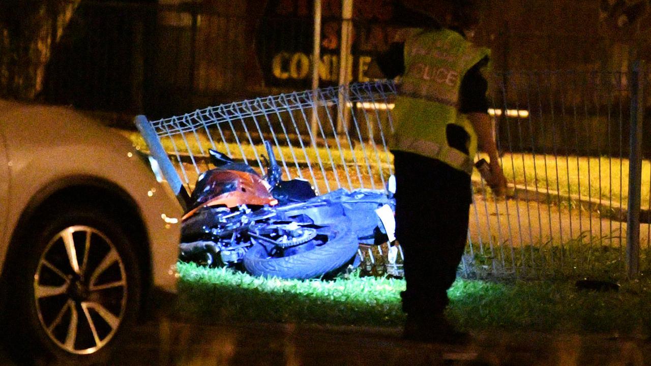 Jennifer Broad's motorbike at the scene of the crash. Picture: Alix Sweeney