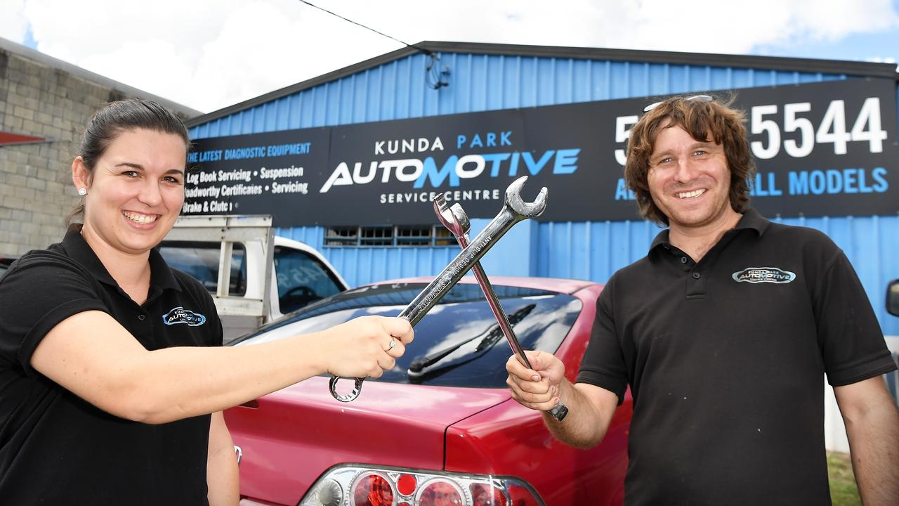 Kunda Park Automotive owners Sam and Symonne Bennett are operating 24 hours a day, Monday through to Thursday, to keep up with bookings. Picture: Patrick Woods.