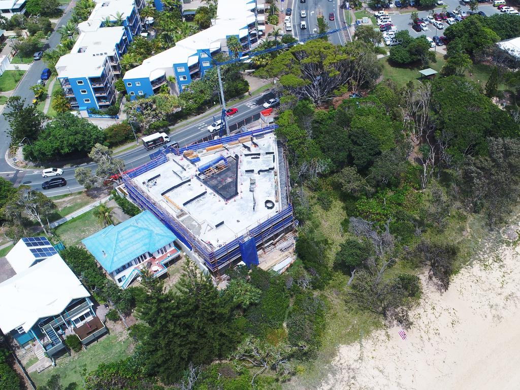 Bryant Building Contractors is making solid progress on a monster beachfront mansion at Dicky Beach said to cost more than $10 million to construct. Picture: Patrick Woods.